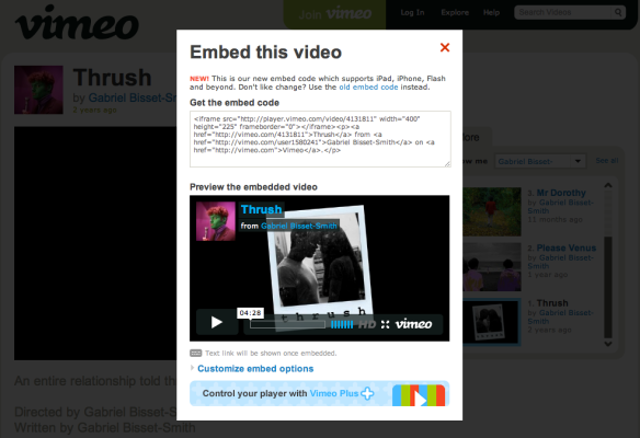 Vimeo embed dialog